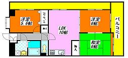 センター・ロイヤル301号室[3階]の間取り