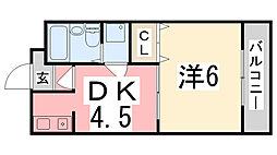 兵庫県姫路市東今宿1丁目の賃貸マンションの間取り