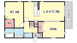 兵庫県芦屋市東芦屋町の賃貸マンションの間取り