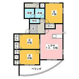 ファインビュー印場元町[7階]の間取り