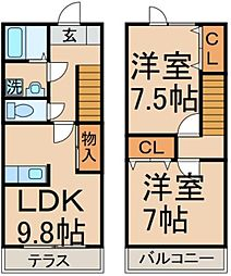 [テラスハウス] 東京都八王子市諏訪町 の賃貸【/】の間取り