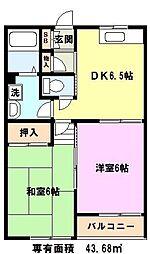 埼玉県川口市弥平1丁目の賃貸アパートの間取り