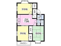 フラワーヒル1番館 2階3DKの間取り