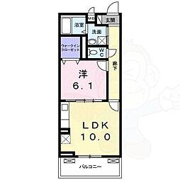 エリシオン・レジデンス3 1階1LDKの間取り