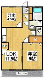 サンエイト中台 2階2LDKの間取り