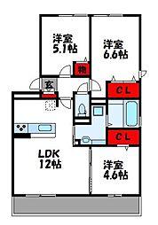 D-room阿恵I[2階]の間取り