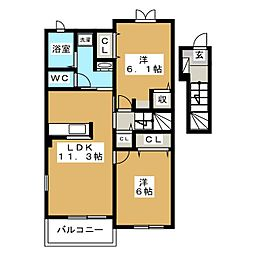 タウンハウス美里 J[2階]の間取り