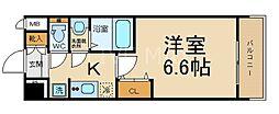 エステムコート京都東寺 朱雀邸 6階1Kの間取り