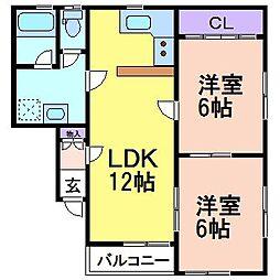 M&Mハイツ C棟[1階]の間取り
