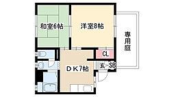 愛知県名古屋市天白区中平4丁目の賃貸アパートの間取り