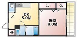 大阪府大阪市東成区深江南3丁目の賃貸マンションの間取り