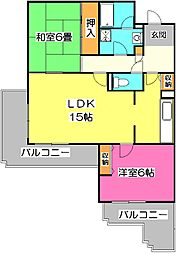 東京都清瀬市中清戸5丁目の賃貸マンションの間取り
