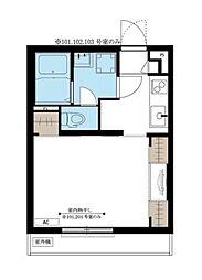 JR南武線 小田栄駅 徒歩10分の賃貸マンション 3階1Kの間取り