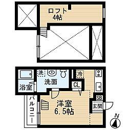JR桜島線(ゆめ咲線) 安治川口駅 徒歩13分の賃貸アパート 1階ワンルームの間取り