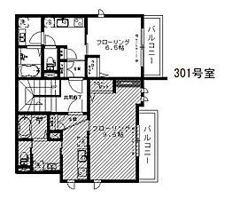 シャーメゾン渋谷イースト 3階1Kの間取り