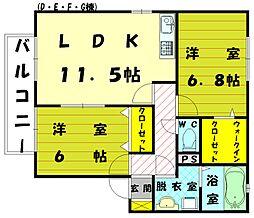 リビングタウン新宮G[1階]の間取り