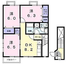 香川県丸亀市土器町西8丁目の賃貸アパートの間取り