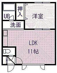 エクセルシオールA・B 1階1LDKの間取り