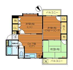 コーポプリンスII[1階]の間取り