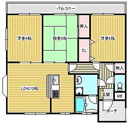 コージーハイツ恵門[1-B号室]の間取り