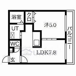 札幌市営東西線 菊水駅 徒歩5分の賃貸マンション 3階1DKの間取り