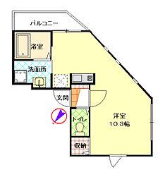 風間ハイツ桜台 1階ワンルームの間取り