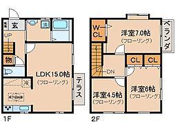京都府京都市山科区西野左義長町の賃貸アパートの間取り