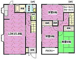 [テラスハウス] 広島県広島市安芸区矢野西5丁目 の賃貸【/】の間取り