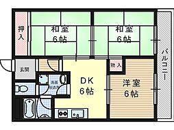 サンワロイヤルマンション2号館[3階]の間取り
