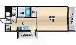FIVE TWO 2階1Kの間取り