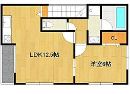 西鉄天神大牟田線 試験場前駅 徒歩18分の賃貸アパート 2階1LDKの間取り