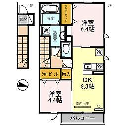 エクレール福井2F[2階]の間取り