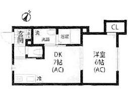 JR横浜線 町田駅 徒歩14分の賃貸アパート 2階1DKの間取り