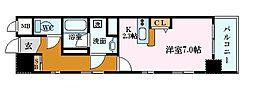 広島電鉄9系統 縮景園前駅 徒歩3分の賃貸マンション 6階1Kの間取り