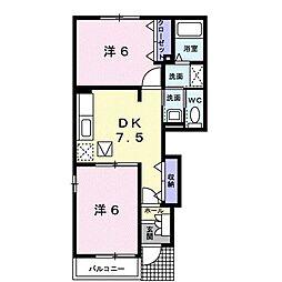 JR肥薩線 中福良駅 6kmの賃貸アパート 1階2DKの間取り
