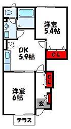 福岡県福津市福間南5丁目の賃貸アパートの間取り