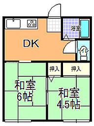 勝田サンコーポ A棟[102号室]の間取り