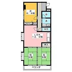 コーポモリタIII[4階]の間取り