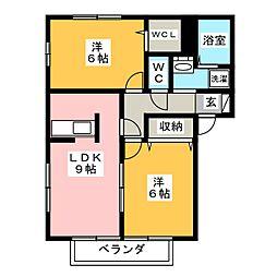 フローラ A[2階]の間取り