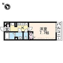 阪急嵐山線 嵐山駅 徒歩7分の賃貸アパート 1階1Kの間取り
