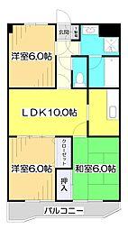 埼玉県和光市南1丁目の賃貸マンションの間取り