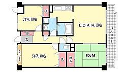 兵庫県神戸市東灘区西岡本1丁目の賃貸マンションの間取り