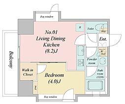 江戸川6丁目新築マンション 9階1LDKの間取り