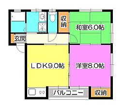 コーポ・ユートピアB[1階]の間取り