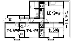 大阪府池田市五月丘3丁目の賃貸マンションの間取り