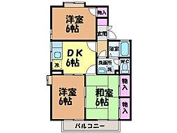 愛媛県松山市東石井6丁目の賃貸アパートの間取り