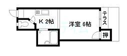 京都府京都市東山区常盤町の賃貸アパートの間取り