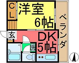 昭栄マンション[801号室]の間取り