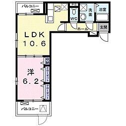 名古屋市営名城線 茶屋ヶ坂駅 徒歩14分の賃貸アパート 2階1LDKの間取り
