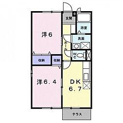 香川県観音寺市新田町の賃貸アパートの間取り